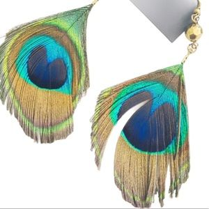 EXPRESSION Boho Feather Drop Earrings Teal OS